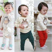 Cheap Cartoon Baby Outfit 2016 New Autumn Toto Toddler Pajamas Set Dot Penguin Long Sleeve Tops+Long Pants Casual Cotton Infant Clothing Sets 7169