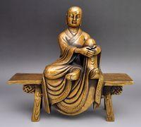arhat buddhism - 8 Tibet Bronze Kshitigarbha Sit wooden stool Comfortable arhat Buddha Statue