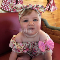 Wholesale 0 T Baby Flower Rompers Headbands Summer Girl Cotton floral print Romper with Bow Girls Ruffled Jumpsuit colors choose