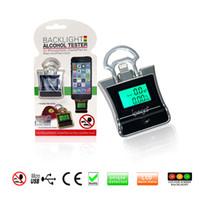 Wholesale 20pcs Promotion Mini Key Chain Digital Breath Alcohol Tester Breathalyzer Analyzer Detector Audio Alert For iPhone S