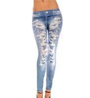 sexy jeans for women - Sexy Hole Lady Print Leggings Jeans Cheap Ripped Denim Spandex Graffiti Fitness Legging for Women Pants Sexy Leggings