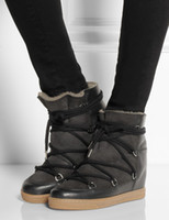 Wholesale Top Quality Two shoelaces Brand Women boots Winter warm fur Wool Bobby Wedge Snow Boots Genuine Leather Casual Shoes Size41