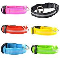 Wholesale 6 Colors S M L XL Size LED Light Up Dog Pet Night Safety Bright Flashing Adjustable Nylon Collar