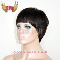 best short hair cuts - New Arrival Cheap Pixie Cut short glueless lace front human hair wigs with bangs for african americans Best brazilian hair wigs