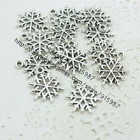 Wholesale 100pcs mm Vintage Silver Metal Alloy Mini Christmas Snowflake Charms Jewelry Makings Charms D0337