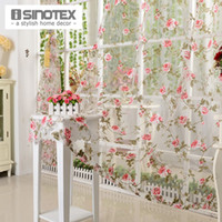 Wholesale iSINOTEX Window Curtain Voile Fabric Red Floral Transparent Burnout Sheer Living Room Tulle Voile Screening