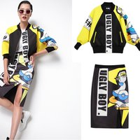abstract blazer - Europe abstract graffiti street Tide brand cartoon hit color baseball uniform air layer jacket skirts package hip suit