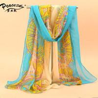 Wholesale New long Korean fashion flower print chiffon scarf women winter scarves shawls wraps cm SW089