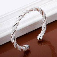 Wholesale Sterling Silver Twisted Wire Bracelet - New Fashion Woman Twisted wire mesh Jewelry Sterling Silver Bangle Bracelet # L10206