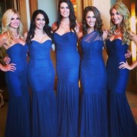 Wholesale Cheap One Sleeve Wedding Dresses - 2 Styles Royal Blue Mermaid Bridesmaid Dresses for Wedding Party Sweetheart One Shoulder Neck Maid of Honor Gowns Customized Cheap