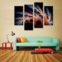 beauty restaurant - 4 Picture Combination WALL ART The beauty of the Colorful Abstract Feather Pictures Printed on Canvas For living room Home Restaurant Decor