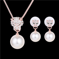 Wholesale Earrings Necklace Jewelry Set Exquisite Royal Luxury Women Pearl Rhinestone K Gold Plated Leopard Head Party Jewelry Piece Set JS300