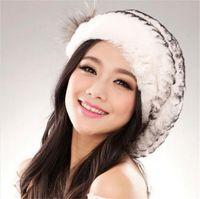 beach rabbit - Queenfur Real Rex Rabbit Fur Beret Beanie Women Luxury Natural Rabbit Fur Winter Hat