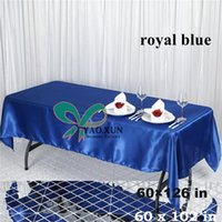 Wholesale Royal Blue Color Rectangular Table Cloth Cheap Price Satin Table Cloth