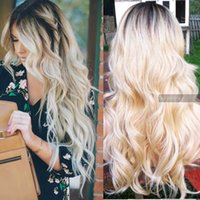 average bodies - 24 quot Long Ombre Blonde Lace Front Wigs Free Part OMBRE Wavy Wig w Dark Root Synthetic Hair lace front wig C013