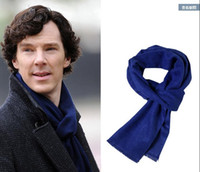 Wholesale Cosplay Sherlock Holmes Navy Blue Muffler Scarf With Tasseled Ends Cosplay Costume Gift