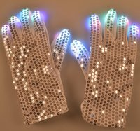 Wholesale Outdoor glove LED light up Patch glow gloves street dance Shimmering scales gloves Colorful Christmas light products