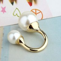 Wholesale 2014 Hot Fashion Gold Alloy Designer Double Simulated Pearls Rings Bead Women s Cuff Finger Ring