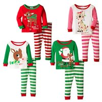 Unisex baby girl nightwear - 2016 Christmas pajamas baby girl outfits reindeer santa claus Sleepwear Long Sleeve Nightwear Children Christmas Clothing set free express