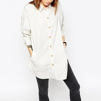 Wholesale Solid Color Boyfriend Shirt - Long boyfriend shirts for womens white button down shirts ladies grey fashion single breasted shirt cotton oversize tops plus size loose top