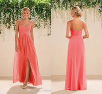 Wholesale 2016 Coral Country Bridesmaids Dresses Long A line Chiffon Spaghetti Straps Backless Crystals Beaded Prom Gowns Bridesmaid Dresses Cheap