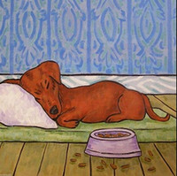 ceramic dog bowl - DACHSHUND sleeping dog bowl ceramic art tile coaster Pure Hand Painted folk Pop Art Oil Painting Canvas any customized size accepted sch
