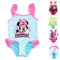 Wholesale Beach Cnlumy DHL summer Swim cute Mickey Mouse Kids children s girl one piece swimsuit years old baby swimwear bikini