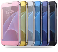 auto mirror covers - New Galaxy S6 S7 Edge PLus Note Apple Iphone S Plus Luxury Premium Genuine Clear View Flip Mirror Case Skin Smart Cover Auto Sleep Awake