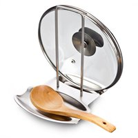 bamboo floor covering - Stainless Steel Pan Pot Rack Cover Lid Rest Stand Spoon Holder