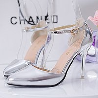 Wholesale The spring and summer of new shoes with a fine pointed high heeled shoes buckle female fashion and the wind low shoes