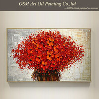 beautiful artists - Artist Supply High Quality Red Flower Knife Oil Painting On Canvas Beautiful Flower Oil Painting Picture On Canvas Decoration