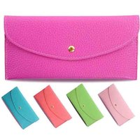 Wholesale 10pcs New Fashion Lady Wallets Leather Credit Card Tote Envelope Clutch Bags For Women Wallet Purse
