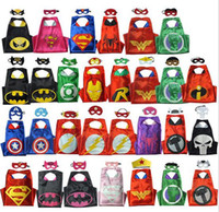 Wholesale 29 designs kids cape Double Side kids Superhero Cape Super hero Batman Spiderman Captain America Supergirl cape mask set D654