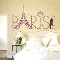al por mayor mural de la pared parís-60 * 90cm Etiquetas engomadas de la pared Etiqueta engomada mural del papel pintado de Removeable del arte de DIY para el dormitorio SK9007 de la sala de estar Torre Eiffel romántica de París