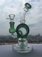barrel end - High end Design Mini Fab Egg Barrel Figure Colored Glass Bong Tyre perc Water Pipe Oil Rig Recycler Glass Pipes