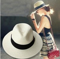 Wholesale Fashion Summer Beach Sun Hat Women s Folding Straw Hat Casual Wide Brimmed Hat