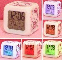 Wholesale digital led alarm clock Hello Kitty Glowing LED light Color Change Multifunction desktop Mini kids touch led Colourful clock