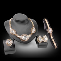 Wholesale Luxurious Precious Stone Jewelry Sets Slap up Gilded Necklace Bracelet Earrings Finger Ring Gem inlaid Wedding Decorations Sets