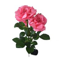 Wholesale Solar LED Rose Lights for Outdoor Garden Decoration with Solar Powered Color Pink