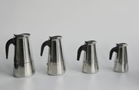 automatic coffee pots - High Quality Stainless Steel Moka Espresso Latte Percolator Stove many size available Top Coffee Maker Pot with large stock