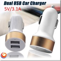 Wholesale 2 Port Dual Port Universal USB Car Charger Compatible with iPhone6 S iPad Andriod Phones Tablets Portable Travel Chargers Free ship