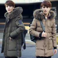 Wholesale Big Fur Hood Thick Extra Long White Down Padded Jackets Men Super Warm Down Coats Men Winter Casual Down Parkas JK