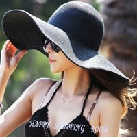 Wholesale 2016 Summer Fashion Floppy Straw Hats Casual Vacation Travel Wide Brimmed Sun Hats Foldable Beach Hats For Women With Big Heads
