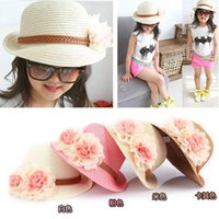 baby beach protection - Girls summer baby straw Hats Fashion Big Flower Caps small hat UV protection Sun Protection Floppy Beach Hat