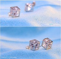 batch windows - 925 Sterling Silver Earrings water cube Korean fashion love window classic diamond earrings Earrings personality mixed batch
