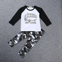 american brand cars - INS Boys Casual Clothes Baby cartoon car Tops Letters T shirt Geometric Camouflage pants set cotton suit C1434