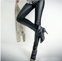 leather pants leggings - Before the imitation leather splicing leggings pants fashion legging women legging