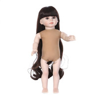 baby dress up doll - 18 inch Dress up Fair Skin American Girl Dolls Girls Play Doll Toys Naked American Girl Dolls Alike with Long Dark Brown Hair