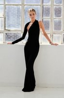 Wholesale Fashion Black Long Sleeves Halter Formal Evening Dresses One Shoulder Mermaid Floor Length Spring Pageant Prom Cocktail Gowns
