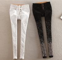 Wholesale teenage girl skinny jeans leggings casual denim pant fleece lined hot diamond sizes colors